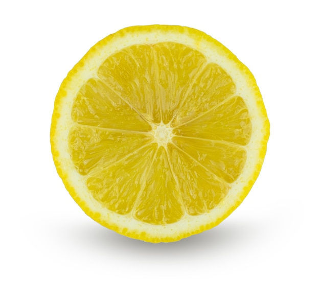 Lemon slice isolated on white with clipping path
