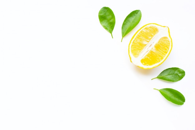 Lemon  and slices with leaves isolated on white background. copy space
