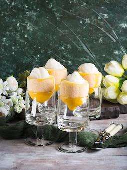 Lemon sorbet ice cream served dessert