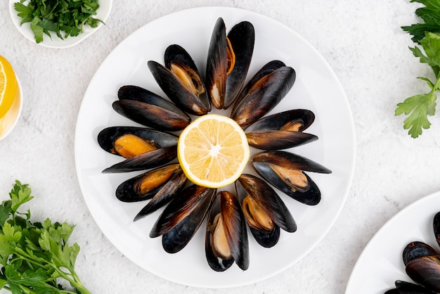 Lemon surrounded by mussels top view