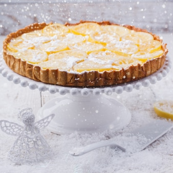Lemon tart.christmas and new year holiday decoration.