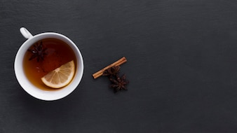 Lemon tea with cinnamon and anise stars