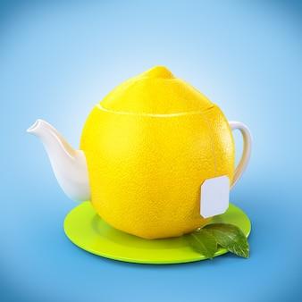 葉とレモンのティーポット