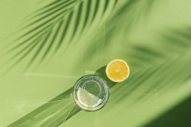 Лимонная вода и тень пальмы на зеленом фоне с тенями