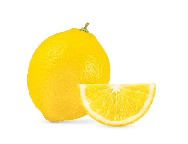 Lemon on white background full depth of field