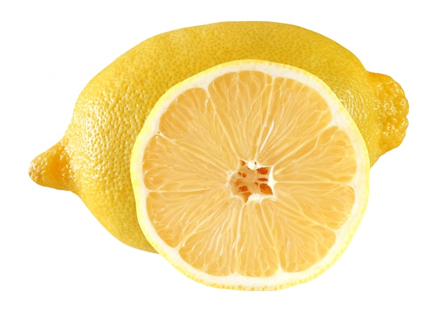 Lemon whole and cut in half inside middle yellow isolated