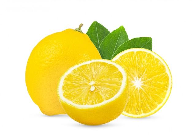 Lemon with leaf on white background full depth of field