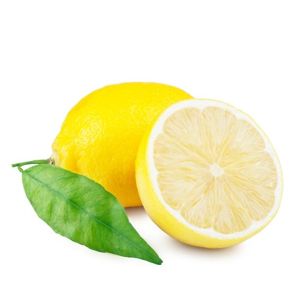 Lemon with leaf on white