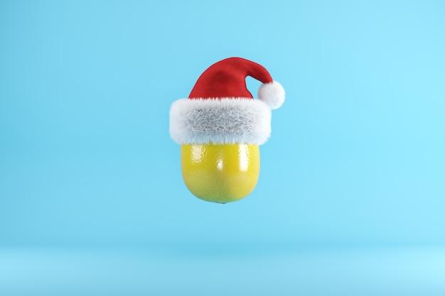 Lemon with santa hat floating on blue