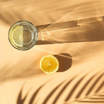 Лимонад и тень пальмы на бежевом фоне с тенями
