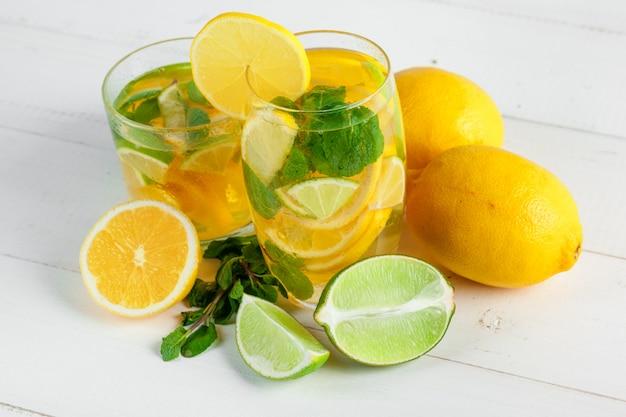 Lemonade. drink with fresh lemons.