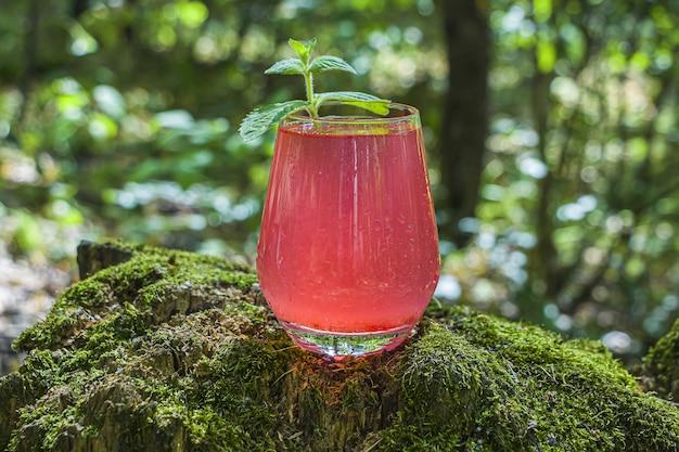 딸기, 라스베리, 자몽 또는 붉은 건포도에서 레모네이드.