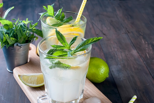 Lemonade in glass with ice and mint