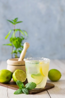Lemonade glass with mint and limes