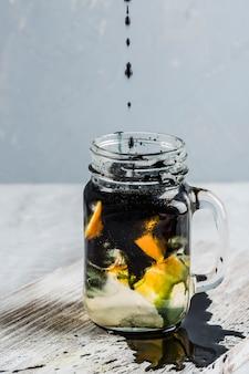 Lemonade made with fresh oranges