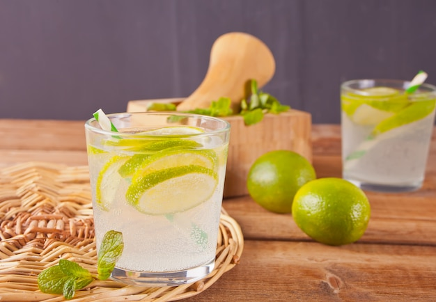 Lemonade or mojito cocktail with lemon and mint, cold refreshing drink or beverage