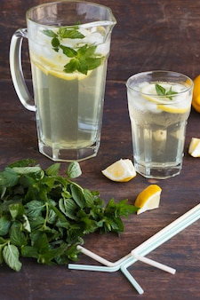 Lemonade with fresh lemon .summer party drink.