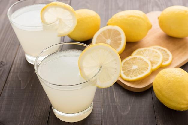 Lemonade with fresh slice lemon on wooden table