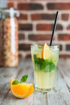 Lemonade with orange mint and ice
