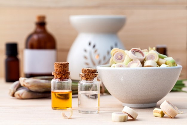 Lemongrass essential oil  with aromatherapy burners .