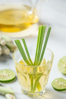 Lemongrass honey and lemon juice food and beverage products from lemongrass extract food nutrition concept.