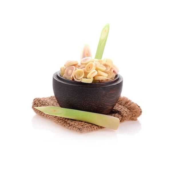 Lemongrass in wood bowl