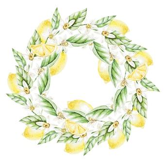 Лимоны, цветы и листья, акварельный венок. фрукты. иллюстрация