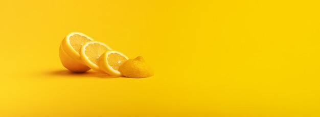 Lemons fruits. juicy slice of lemon