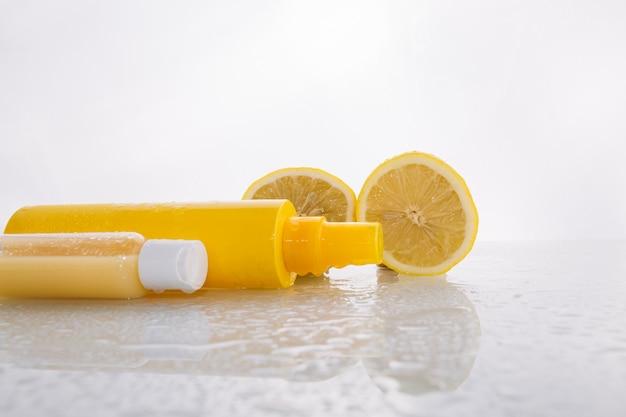 Lemons near skincare products