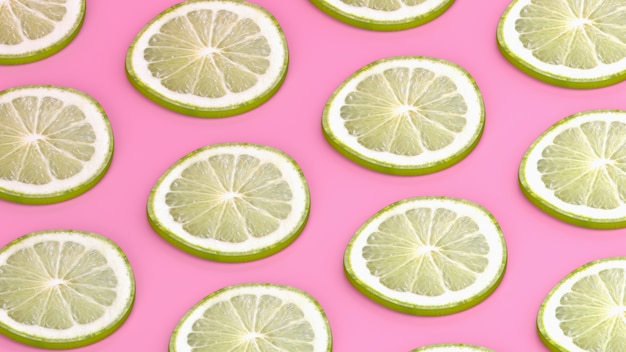 Lemons pattern on blue background, 3d render.