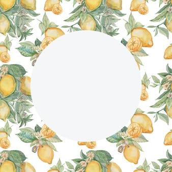 葉と花のパターンと円を持つレモン