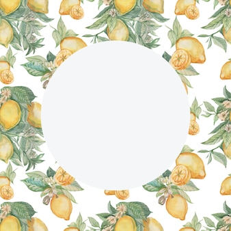 Lemons with leaves and flowers pattern and circle