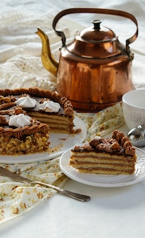 Leningrad cake - russian shortcrust pastry layers cake, butter cream filling chocolate glaze