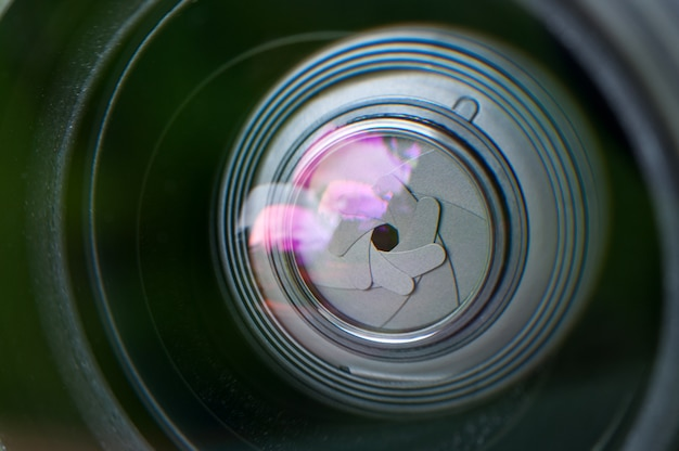 Lens close-up. the petals of the diaphragm.