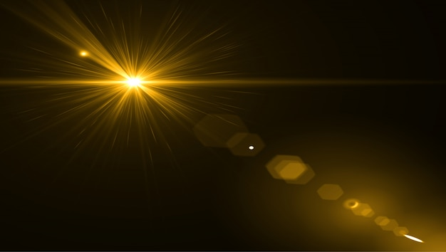 Объектив вспышки света на черном фоне. легко добавить наложение или экран фильтра по фотографиям
