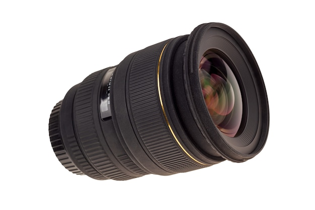 The lens of modern digital camera, a view of the front lens. isolated .