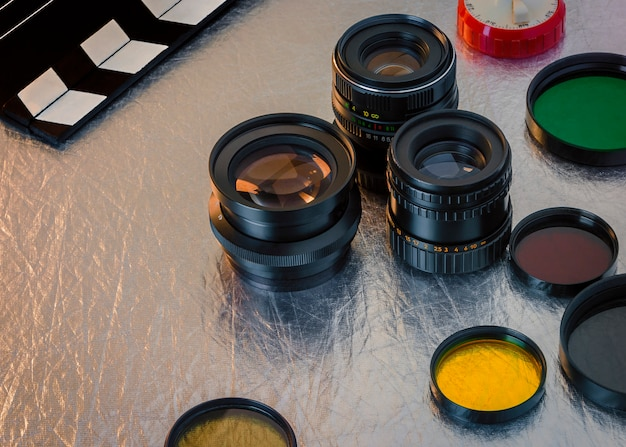 Lenses, optical filters and clapperboard