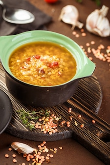 Lentil soup - masoor dal or dal tadka curry