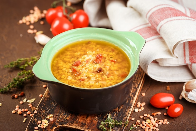 Lentil soup - masoor dal or dal tadka curry