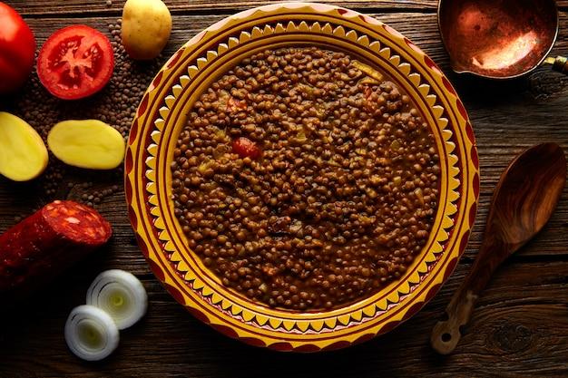 Lentil soup plate mediterranean recipe aged wood