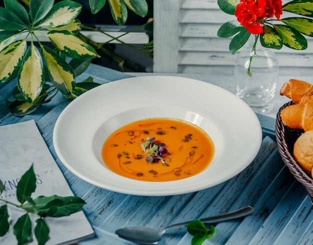 Lentil soup on the table