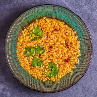 Lentil soup, vegetarian, vegan cuisine.