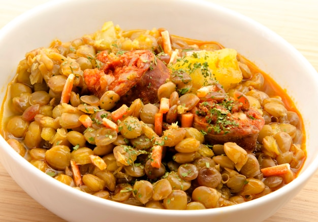 Lentil stew in bowl