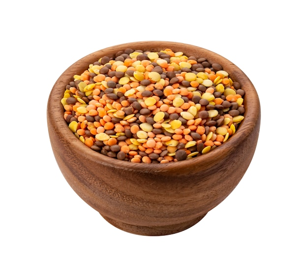 Lentils mix isolated on white with clipping path