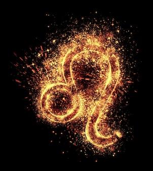 レオのシンボルの火花は黒で隔離されます