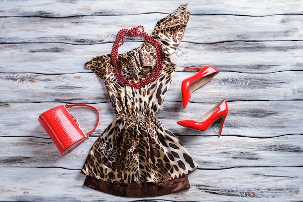 Leopard dress and bead necklace. bright red heel shoes. lady's glossy purse on display. exclusive clothes and accessories.