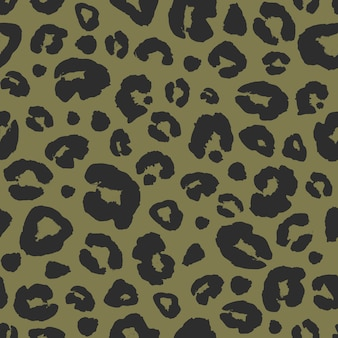 Leopard skin print seamless pattern background. animal fur spot abstract camouflage texture. black and khaki hand drawn spotted print for textile, fabric, wrapping paper, wallpaper.