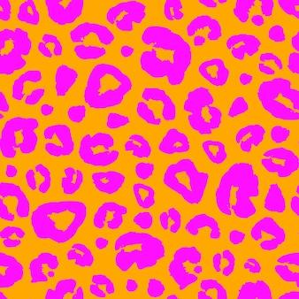 Бесшовный фон фон печати кожи леопарда. мех животных пятно абстрактные текстуры камуфляж. пурпурный розовый и оранжевый рисованный пятнистый принт для текстиля, ткани, оберточной бумаги, обоев.