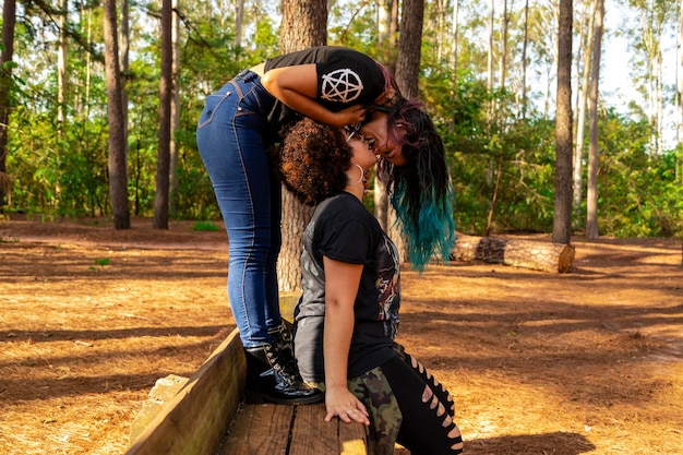 Lesbian couple on a beautiful day in the park