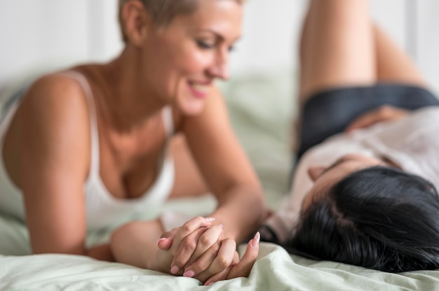 Lesbian couple close-up at home